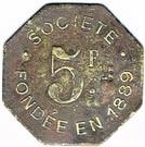 5 Francs - Société de Consommation de l'Est (Verdun) – reverse
