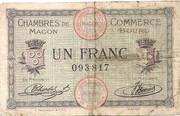 1 Franc - Chambres de Commerce de Mâcon [71] et de Bourg [01] – obverse