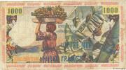 10 nouveaux francs sur 1000 Francs – reverse
