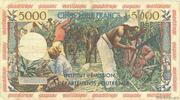 50 nouveaux francs sur 5000 Francs Antillaise – reverse
