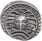 Sceat (Series X; 'Wodan' head) – obverse