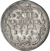 12 Kreuzer - Adalbert II of Walderdorff – reverse