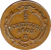 ½ Kreuzer - Franz II – reverse