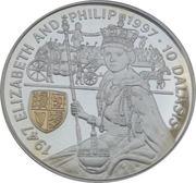 10 Dalasis (Queen Elizabeth II & Duke of Edinburgh's Golden Wedding) – reverse