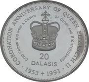 20 Dalasis (40th Anniversary of Coronation of Queen Elizabeth II) – reverse