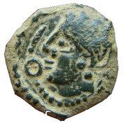 Bellovaques, bronze au prfil féminin et à la fibule (1er siècle av JC) – obverse