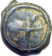 Potin au swastika:tête droite(Bituriges Cubes,incertaines)-(Ier siècle avant J;C) – reverse