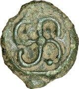 Potin au swastika sinistrogyre et à la tête à gauche (Bituriges Cubi) – reverse