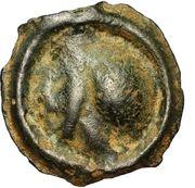 Potin à la tête à gauche et au swastika dextrogyre (Bituriges Cubi) – obverse