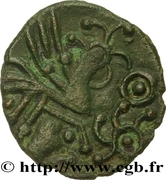 Bronze with rooster and human head (Bellovaci) – reverse