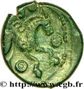 Bronze au cheval et à la tête aux cheveux calamistrés (Ambiani) – reverse