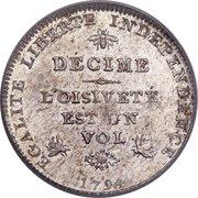 1 Decime (Revolutionary Coinage) – reverse