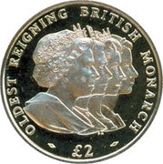 2 Pounds - Elizabeth II (Oldest Reigning Monarch; Silver Proof Issue) – reverse