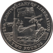 2 Pounds - Elizabeth II (25th Anniversary of Liberation) – reverse