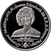2 Pounds - Elizabeth II (Diamond Wedding; Silver Proof) – reverse