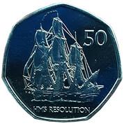 50 Pence - Elizabeth II (HMS Resolution) – reverse
