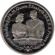 2 Pounds - Elizabeth II (Diamond Wedding - Royal Engagement 1947) – reverse