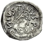 ¼ Siliqua - In the name of Justin I, 518-527 & Theoderic, 475–526 (Sirmium; regular S with angled bust) – obverse