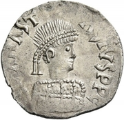 ½ Siliqua - In the name of Anastasius I, 491-518 (Sirmium; large bust with bumpy back and SRM) – obverse