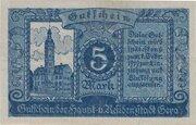 5 Mark (blue on blue) – reverse