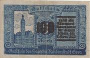 100 Mark (overstamp on 5 Mark) – reverse