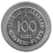 100 Pfennig (Nürnberg-Fürth) [Railroad, Bavaria] – obverse
