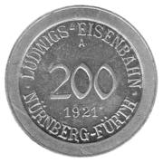 200 Pfennig (Nürnberg-Fürth) [Railroad, Bavaria] – obverse