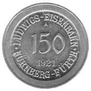 150 Pfennig (Nürnberg-Fürth) [Railroad, Bavaria] – obverse