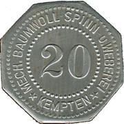 20 Pfennig (Kempten) [Private, Bayern, Mechanische Baumwollspinnerei] – obverse