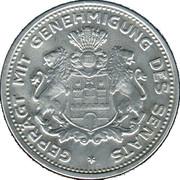 5/100 Verrechnungsmarke (Hamburg) [Private, Hamburgische Bank A.G.] – reverse