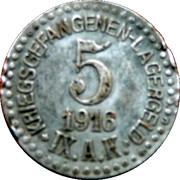 5 Pfennig Kriegsgefangenenlager IX A.K. Armee Korps Güstrow. POW CAMP – obverse