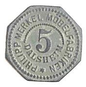 5 Pfennig (Dalsheim) [Private, Pfalz, Philipp Merkel Möbelfabrik] – obverse