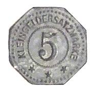 5 Pfennig (Dalsheim) [Private, Pfalz, Philipp Merkel Möbelfabrik] – reverse