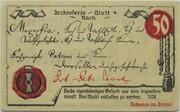 50 Pfennig (Mühlhausen in Thüringen; Archive Series - Issue 4: Bach) -  reverse