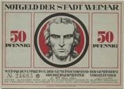 50 Pfennig (Weimar; Goethe and Schiller Series - Schiller, Red Issue) -  obverse