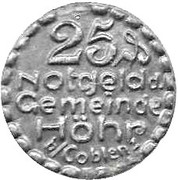 25 Pfennig (Höhr) [Stadt, Hessan-Nassau] – obverse