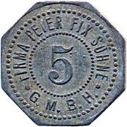 5 Pfennig (Duisburg) [Private, Rheinprovinz, Firma Peter Fix Söhne GmbH] – obverse