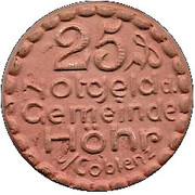 25 Pfennig (Höhr) [Stadt, Hessen-Nassau] – obverse