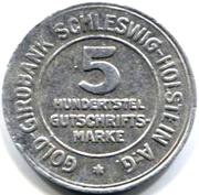 5/100 Gutschriftsmarke (Schleswig-Holstein) [Private, Girobank A.G.] – obverse