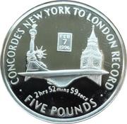 5 Pounds - Elizabeth II (Concorde's New York to London Record) – reverse