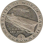 1 Crown - Elizabeth II (H.M.S. Ark Royal) -  reverse