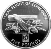 5 Pounds - Elizabeth II (Final Flight of Concorde) – reverse