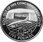 5 Pounds - Elizabeth II (Roll out of the Concorde Prototype) – reverse