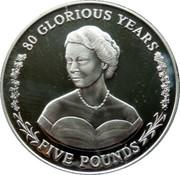 5 Pounds - Elizabeth II (Younger Queen Elizabeth in Evening Gown) – reverse