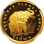 1/5 Crown - Elizabeth II (Elephants) – reverse