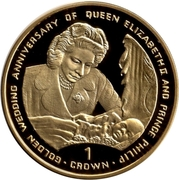 1 Crown - Elizabeth II (Queen with baby Prince Charles; Silver Proof) -  reverse