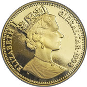 ½ Crown - Elizabeth II (3rd portrait; Peacocks) – obverse