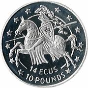 14 ECUs / 10 Pounds - Elizabeth II (Knight) -  reverse