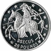 35 ECUs / 25 Pounds - Elizabeth II (Knight) – reverse