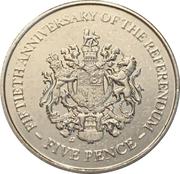5 Pence - Elizabeth II (1967 Referendum Anniversary) – reverse